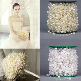 beads chain garland 2019 - Decorations Artificial Dried Flowers 5 Meters Fishing Line Artificial Pearls Beads Chain Garland Flowers Wedding Party D