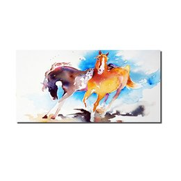 large horse canvas art print NZ - 1 Panel Print Watercolor Running Horse Painting Animals Canvas Art Large Panel Canvas Art Print Poster