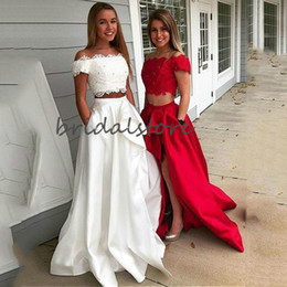 black white dance dresses Australia - Sexy Red White Two Piece Prom Dresses A Line Short Sleeves Satin Long Formal Party Dress With Pockets Graduation Dance Evening Dress 2020
