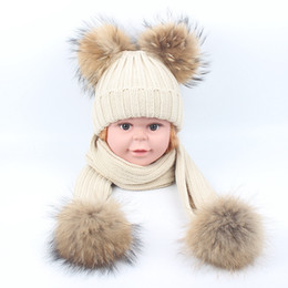 beige ball suits UK - Winter Baby Beanie Boys Girls Hats Raccoon Knitted Scarf Set With Fur Pompom Ball Caps Children Hats Kids Warm Beanies Scarves Suits