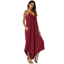 summer loose top girls 2019 - New Arrival Womens Sexy Jumpsuits Summer Deep V-Neck Loose One Piece Suits Girls Halter Top Dress Female Clothes discoun