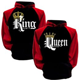 wholesale contrast hoodies NZ - Lovers Hooded Hoodies Crown Pattern Print Design Hoodies Couples Pullover Hoodie Contrast Color Black Red Hoodies Tops