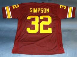 144b657934f Cheap retro #32 OJ SIMPSON CUSTOM USC TROJANS JERSEY HEISMAN NC Wine Red  Mens Stitching College Size S-5XL Football jerseys NCAA
