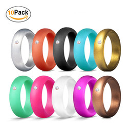 wide silicone band Australia - 10 colors Lot 5.7MM Wide Women Wedding Silicone Rings For Girls crystal diamond engagement bride Comfortable soft rubber finger Ring Jewelry