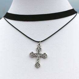 Black gothic cross pendant online shopping - N910 Gothic Fashion Women Clavicle Necklaces Multilayer Black Choker Necklace Cross Pendant Jewelry Collar Necklace Bijoux