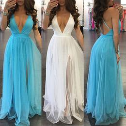 Wholesale women dresses sundresses resale online – New Women BOHO Long Party Prom Floral Summer Beach Maxi Dress Ladies Womens Dresses Sexy Sundress