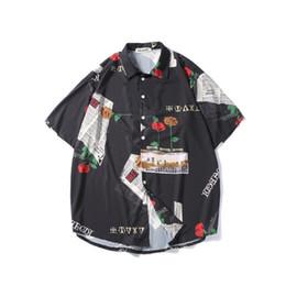 Korean Shirts Designs Australia - Men Printing Shirts Men Fashion Design Hip Hop Streetwear Shorts Sleeve Shirts Korean Style Punk Rave Designer Casual Shirts T2190606