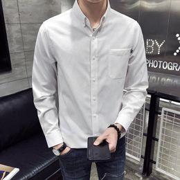 $enCountryForm.capitalKeyWord Australia - M-3XL Pocket Front Mens Long Sleeve Shirt Single Breasted Oxford Button Down Collar Shirts Plain Workout Office Wear Blouse Men