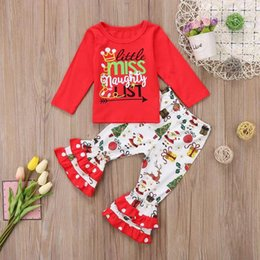 christmas clothes Australia - New Christmas Boutique Fall Winter Baby Girls Ruffles Outfits Letter Print Long Sleeve Tops + Santa Claus Design Pants Clothing Sets