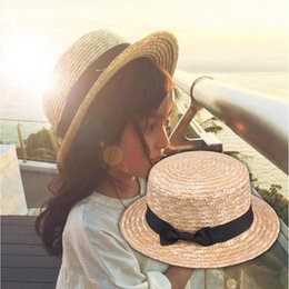 straw boaters NZ - Cute Child Girls Straw hat Bowknot Sun Hat Kids wide Brim Beach Summer Boater Beach Ribbon Round Flat Top fedora