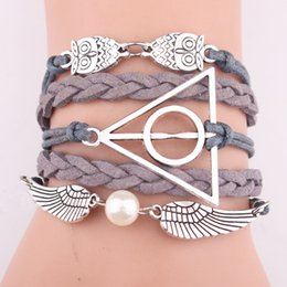 Wholesale Exquisite Angel Wings Original Handmade Woven Leather Charm Bracelet