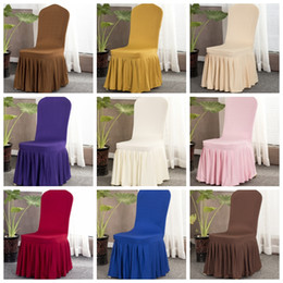 Wholesale Chair Slipcovers Australia - Spandex Chair Covers Elastic Wedding Seat Cover with Hem Solid Removable Slipcover Banquet Wedding Dinner Decor 16 Designs 100pcs YW2693