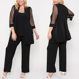 $enCountryForm.capitalKeyWord NZ - Three Pieces Black Mother Of The Bride Pant Suits 3 4 Illusion Long Sleeve Wedding Guest Dress Beaded Chiffon Mothers Groom Dresses