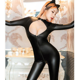 $enCountryForm.capitalKeyWord Australia - Temptation Women Catsuit Faux Leather Bodysuit Zipper Hollow Out Jumpsuit Cat Cosplay Outfit With Tail Erotic Catwoman Costume