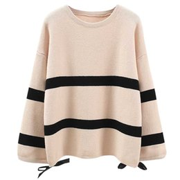 Wholesale women s sweater cardigan Women Round Neck Hand Sleeve Stripe Sweater Long Sleeve Pullover Top Blouse cashmere women
