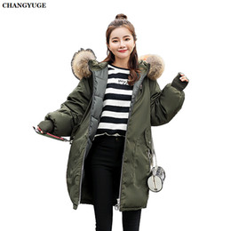 dark green parka jacket Australia - CHANGYUGE 2018 Large Fur Collar Jacket Winter Women Hooded Parkas White Duck Down Long Coat Female Snow Warm Outwear