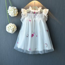 Ball skirt casual online shopping - Pony unicorn horse embroidered screen mesh baby girls princess dress kids prom summer tutu skirts children boutiques clothes