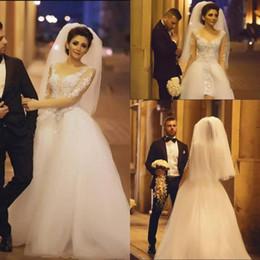 $enCountryForm.capitalKeyWord Australia - Summer Sheer Long Sleeves Wedding Dresses Plus Size Tulle Overlay Train Front Split Bridal Gowns Formal Lace Appliques Sheath Wedding Dress