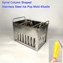 Ice Mold Stick Australia - Spiral Cylindrical Ice Cream Mold DIY Popsicle Molds 304# Stainless Steel Ice-lolly Moulds 40Cells with Sticks Holder