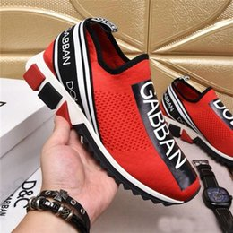 Discount Knit Fabric Australia - 2019 Discount DOLCE & GABBANA D.G Unisex Blue Knit Sorrento Sneaker DG Logo Turquoise Mesh Sneakers Running Casual Shoes