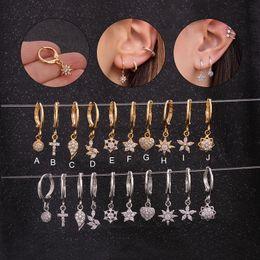 $enCountryForm.capitalKeyWord Australia - Feelgood 1pc Boho Dainty Hoop With Small Cz Earring Crystal Cross Flower Star Heart Wing Ear Piercing Jewelry Tiny Earring