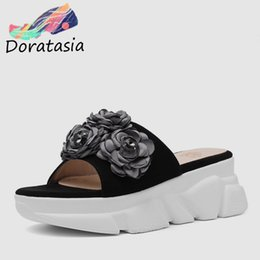 Flower Shoes Kids NZ - DORATASIA Brand New Big Size 33-40 Ladies High Heels Platform Kid Suede Flower Shoes Woman Casual Outside Summer Slippers