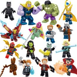 Toptan satış Avengers 3 Endgame Loki Siyah Pather Demir Adam Tony Stark Hulk Thanos Thor Görüş Mini Oyuncak Şekil Yapı Taşı Assebmle Blok