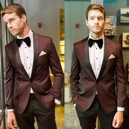 plaid design NZ - Fashion Men Suits Wine Color Check Design Suits 2 Pieces One Button Groom Wedding Formal Tuxedos Custom Made Business Men Wear