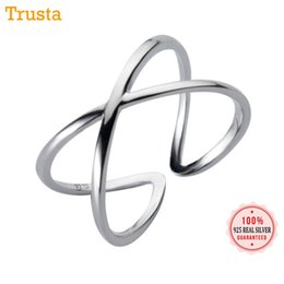 Hollow Fingers Australia - Trusta 100% 925 Solid Silver X Hollow Cross Open Ring Fashion 925 Rings Sizable Finger Jewelry Gift For Women Girls DS954