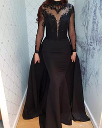 Silver Gray Taffeta Skirt NZ - Mermaid High Neck Long Sleeve Black Prom Dresses 2019 Sheer Bead Lace Formal Evening Gowns with Detachable Skirt Overskirts Celebrity Dress