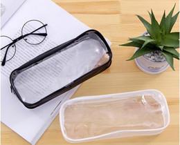 $enCountryForm.capitalKeyWord Australia - 300pcs PVC Pencil Bag Zipper Pouch School Students Clear Transparent Waterproof Plastic PVC Storage Box Pen Case Mini Travel Makeup Bags