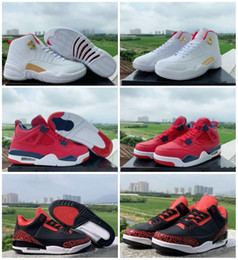 tassel sneakers Australia - New 3 4 12 Mens Basketball Shoes White Red FIBA 3s 4s 12s World cup Trainers Sports Sneakers Designer Jumpman Zapatillas des chaussures