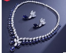 blue diamond wedding necklace Australia - more color crystal diamond flower bride wedding set necklace earings 120.78) bnv