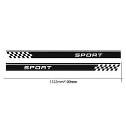 Discount car side mirror stickers - 152.2*10CM New Car Body Sticker,Racing Checker Flag Custom Side Stripes Decals Car Stickers Black Silver CA-1056
