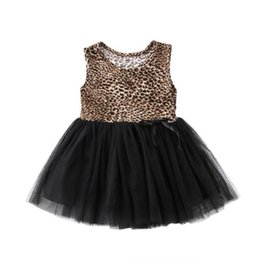 Fashion Short Gown Dresses UK - Hot Fashion Girl Toddler Leopard Lace Dress Costume Party Fancy Dresses Clothes Kids