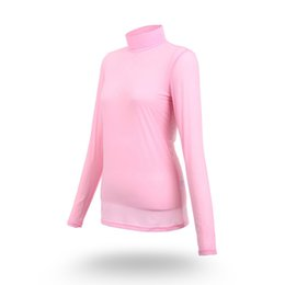 ice apparel UK - PGM Golf Long Sleeve Ice T-shirts Women Summer Outdoor Sport Clothes Soft Viscose Shirt Sunscreen UV Underwear Golf Apparel