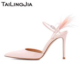 $enCountryForm.capitalKeyWord Australia - High Heel Pink Silk Luxury Pointed Toe Women Pumps Woman Shoes Bird Hair Fur Wedding Party Brand Ladies Handmade Shoe Wholesale