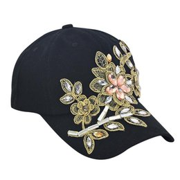 Discount new flower snapback men - Women Men Fashion Adjustable Flower Rhinestone Denim Baseball Mesh Cap Hat Casual Snapback Hats Summer Mesh Caps New L8#