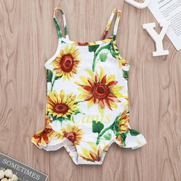 Swimwear Infant Australia - 2019 Toddler Floral Swimsuit Infant Kids Baby Girls SunFlower Swimwear Romper Sling Bathing Suit Children Beach Clothes