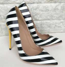 Striped Bottom Dress Australia - New type black white striped women's high heel shoes Fine heel Cusp Single shoes wedding work shoes 8cm 12cm 10cm red bottom large size 44