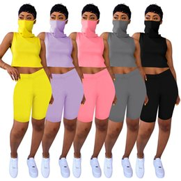 summer hiking mask 2021 - Women Solid 2 Piece Set Tank Tops+Shorts Jogger Suit With Mask Sleeveless Cartoon Pullover Outfits S-2XL Breathable Trac