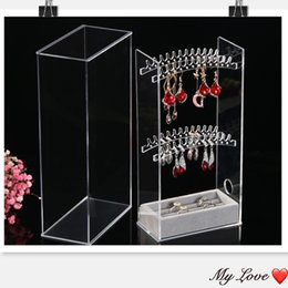Acrylic Plastic Jewelry Australia - New Acrylic Transparent Crystal Jewelry Plastic PS Showing Shelf Necklace Rack Box Earrings Hanger Nail Art Display Stand