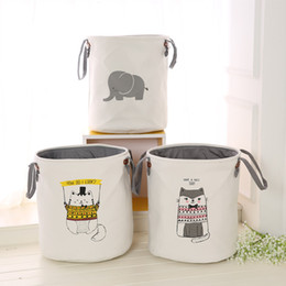 $enCountryForm.capitalKeyWord Australia - Cartoon Storage Baskets INS Canvas Storage Bags Animal Printed Sundry Bins Clothing Organizer Kids Room Laundry Toy Storage Bag YFA431