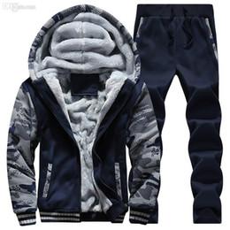 00f45b9c7f9c Bape Sweat Pants NZ - Wholesale-winter Men Sweat Suits Fleece Warm Mens  Tracksuit Set