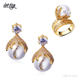 Discount big 18k gold plated rings Deczign Latest design Brazilian gold color jewelry sets for women Big earrings ring listeria Large 2pcs bride fashion ea