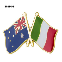 pins for shirt collar 2021 - Australia Italy Friendship Flag Metal Pin for Coat Jacket Brooch on The Collar of the Shirt Jewellry Gift XY0273