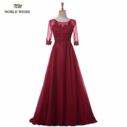 NOBLE WEISS Elegant O-Neck A-Line Sweep Train Lace Evening Dress Cheap Prom  Dresses Robe De Soiree Party Dress With Half Sleeves D18122601 7678a45dfb05
