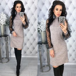 Wholesale elegant long straight dresses for sale – plus size Women Vintage Lace Patchwork Straight Dress Elegant Long Sleeve Mini Sexy Dresses Spring Casual Women Office Lady