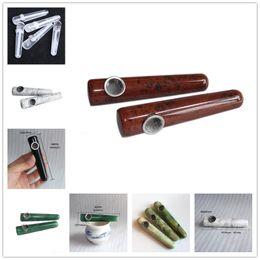 Stone Pipes Australia - 2019 Massage stick Natural Diamond Quartz Crystal Pipe Smoking Cigarette Stone Tobacco Hand Pipes With Metal Bowl Mesh 6 Styles