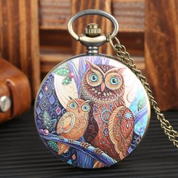 China Fashion Cute Owl Face Cover Rero Quartz Pocket Watch Necklace Jewelry Pendant Steampunk Clock Gift for Young People Collectibles cheap young necklace suppliers